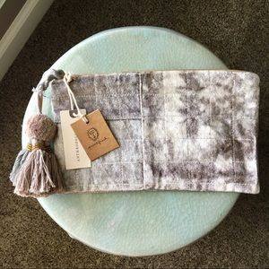 NWT Printfresh Grey Dyed Velvet Pouch